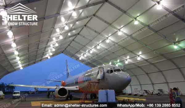 aircraft hangar tent - helicopter hangar tent - aircraft hangar structures - private jet hangar structure - Shelter airplane hangar tents for sale -28