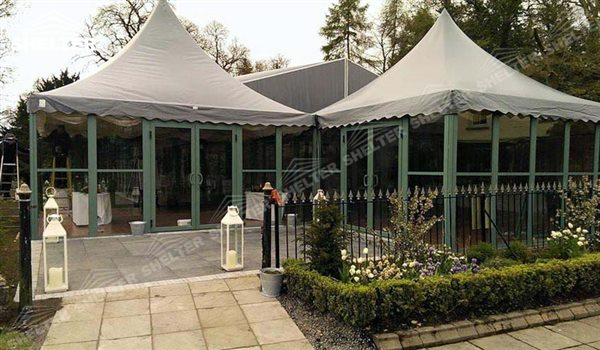 SHELTER pagoda tent Gazebo Tent - High Peak Structures - Reception Canopy Marquee - Catering Hall with Top Roof - Glass Tent for Sale -13