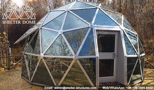 SHELTER Dia. 6m Dome House with Glass Panel - Geodesic Living Dome in Campsite, Glamping Resort -22