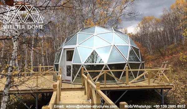 SHELTER Dia. 6m Dome House with Glass Panel - Geodesic Living Dome in Campsite, Glamping Resort -24