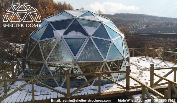 SHELTER Dia. 6m Dome House with Glass Panel - Geodesic Living Dome in Campsite, Glamping Resort -25