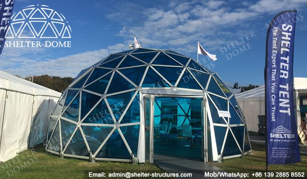 SHELTER Exhibition Dome Sale in UK - Dia. 8m 3v Geodome with PC Panel -5