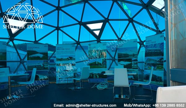 SHELTER Exhibition Dome Sale in UK - Dia. 8m 3v Geodome with PC Panel -6