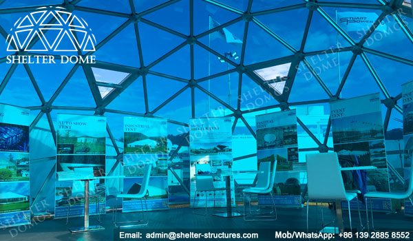 SHELTER Exhibition Dome Sale in UK - Dia. 8m 3v Geodome with PC Panel -7