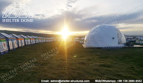 SHELTER Dia. 10m Restaurant Dome - Geodome Tent with Bay Window - Sphere Catering Tent Sale in US -2