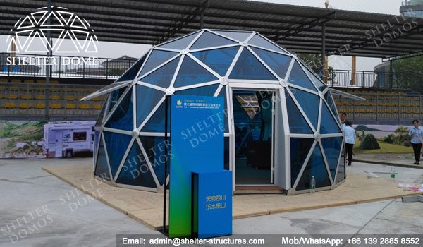 SHELTER Spherical Tent with PC Panel - Dia. 6m _ 20ft Glass Geodome for Sale - Exhibition Dome House -3