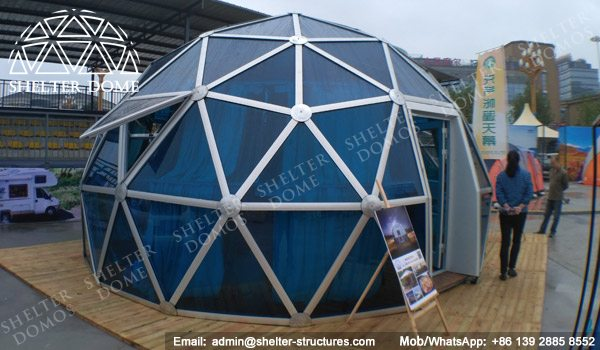 SHELTER Spherical Tent with PC Panel - Dia. 6m _ 20ft Glass Geodome for Sale - Exhibition Dome House -7