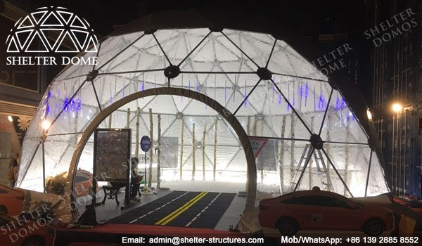 SHELTER Dia. 10m Pop up Dome - Geodesic Dome with Bay Window for Product Launches -2