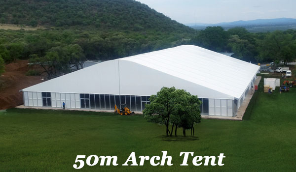 SHELTER Temporary Warehouse Structures - Industrial Storage Tent - 50m Arch Tent