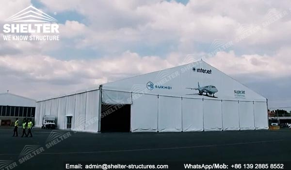 20 by 40 meter Aircraft Shelter Supplied in Mexico - Portable Aviation Maintenance Canopy -7