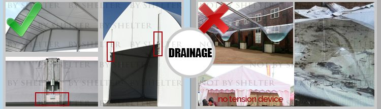 8 Aluminum Clear Span Tent Quality Contrast - Event Tent Draining System