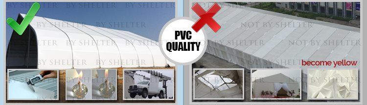 9 Aluminum Clear Span Tent Quality Contrast - PVC Fabric Quality