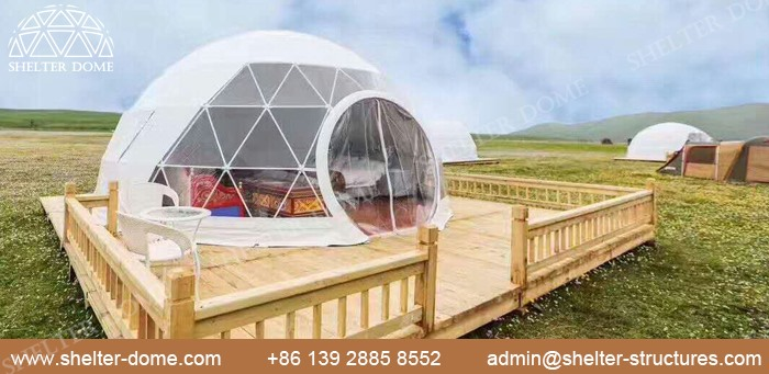 SHELTER Fabric Dome for Glamping living - 5m Eco Dome with Bay Window in Campsite -4