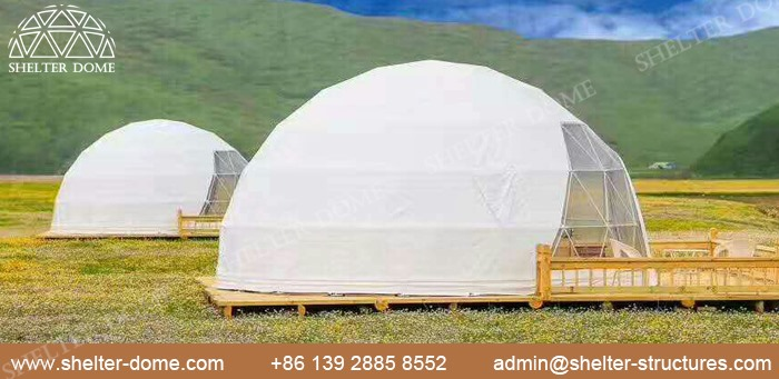 SHELTER Fabric Dome for Glamping living - 5m Eco Dome with Bay Window in Campsite -5