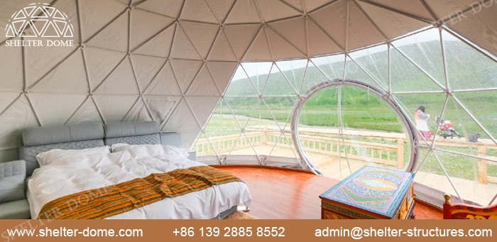 SHELTER Fabric Dome for Glamping living - 5m Eco Dome with Bay Window in Campsite -6