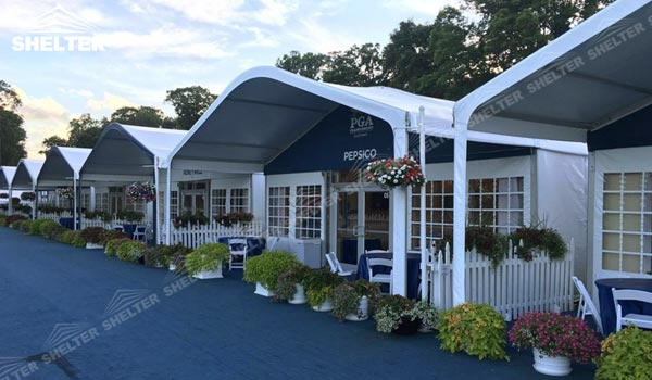 PGA Tour US - Lounge Tent in Golf Events - VIP Hospitality Hall with Arch Roof & The Trends of Clearspan Rental Business | Shelter Structures