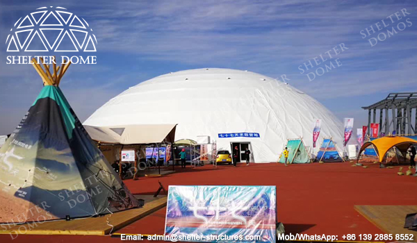 SHELTER Dome Construction - Large Geodome Tent for Exhibition Reception and Launches - Diameter 50m & Dome Construction on Campsite - Large Event Dome - Shelter Structures
