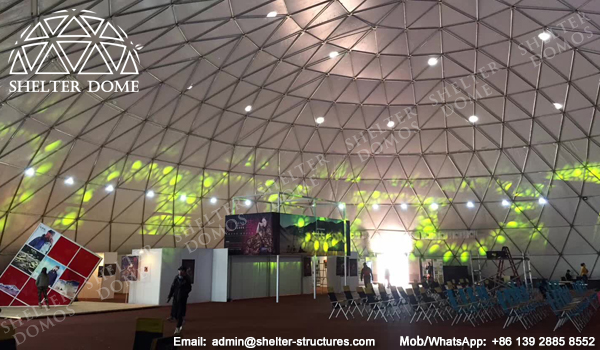 Dome Construction with White Membrane - Portable Geodesic Dome Tent in Desert