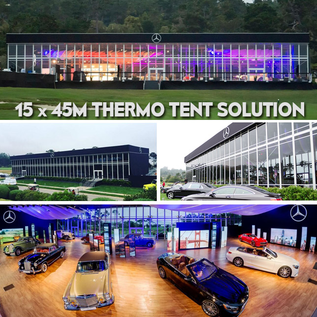 15 by 45m Car Show Tent for Benz Vehicle Exhibition in Pebble Beach - Thermo Roof Tent Structure 2