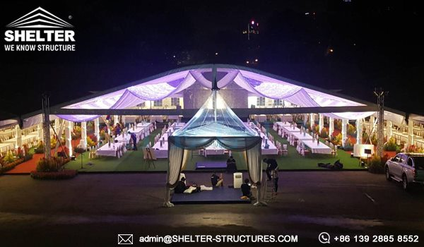 Royal Wedding Tent by Shelter - 35 x 50m Arch Marriage Marquee with Luxury Decoration - Church Seat Tent for Sale -2