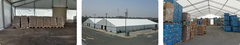 Temporary building for logistics industry - goods and equipment warehouse