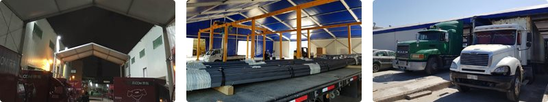Temporary building for logistics industry - loading bay canopies