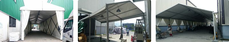 Temporary building for logistics industry - temporary walkway, tunnel with building